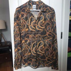 Zara gold Chain Print Oversize shirt dress